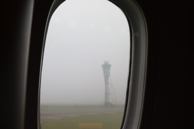 landing - mist on the window