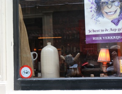 Jug in the window of the Monkey Bar