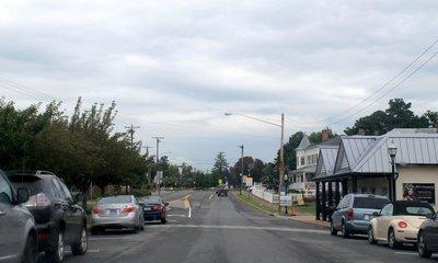 main street of town in the rain