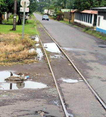 old unused narrow guage railroad tracks