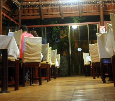 Restaurant for dinner from down on the ramp
