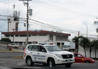 Police car near gas station