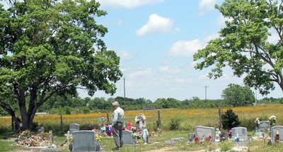 Man in Saint Wenceslaus Catholic Cemetery