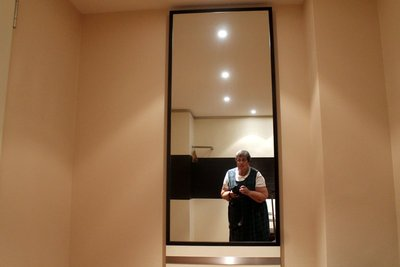 me reflected in the anteroom mirror