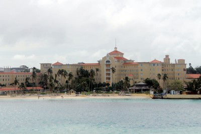 Hotel beach on the harbour