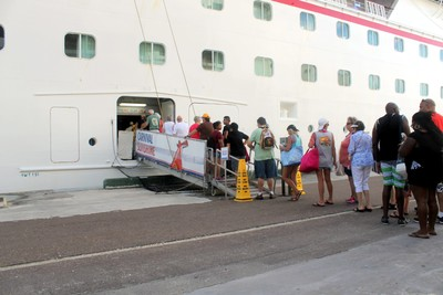 Line to board the ship