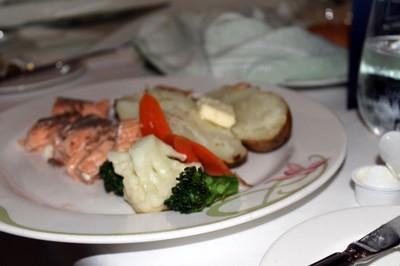 salmon and baked potato