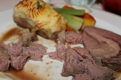 Prime rib which the server insisted on cutting up for me