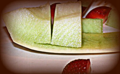 melon and strawberry plate