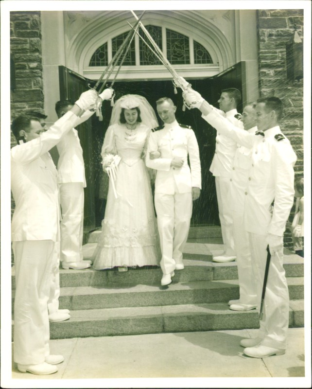 Wearing my grandmother's wedding dress