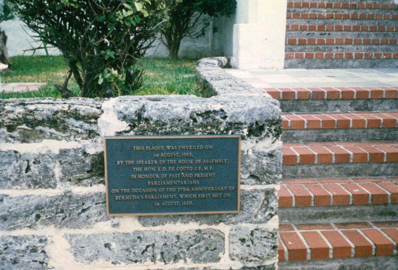 Plaque on the 375th anniversary of the first Bermuda parliament