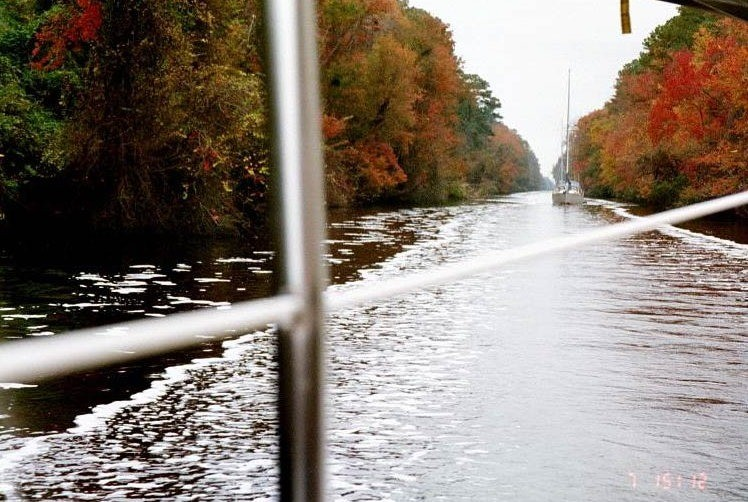 Dismal swamp canal and the Westsail behind us