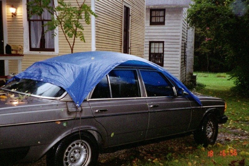 Covered Mercedes during hurricane