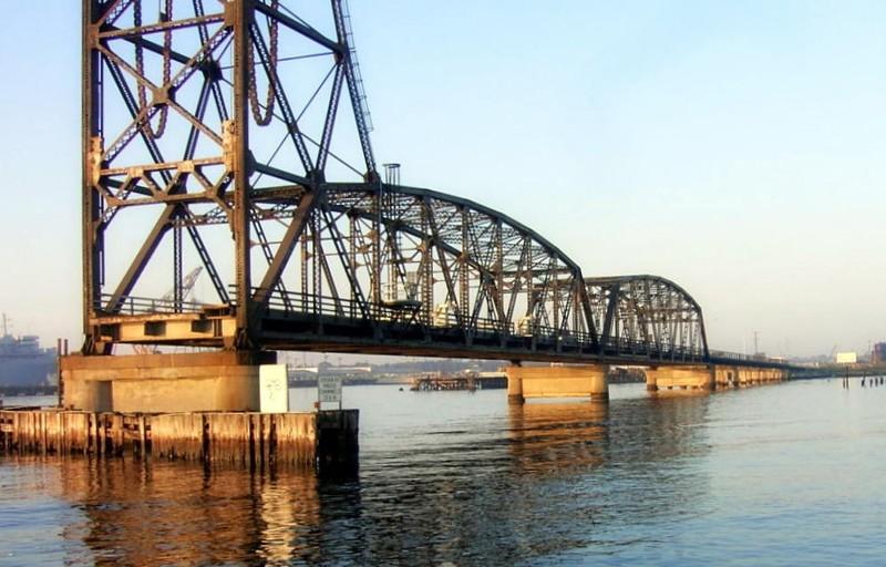 Side of the railroad lift bridge