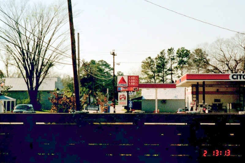 Gas station in South Mills from the canal