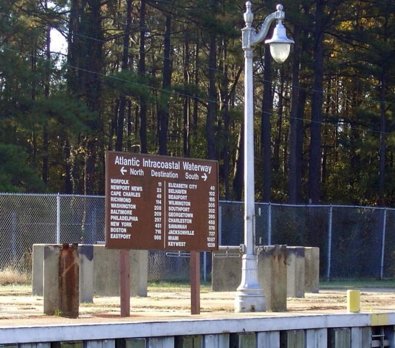 Mileage board at the lock