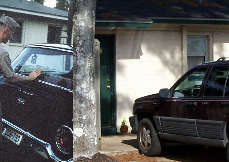 Bob by our car on the left, current occupant's car on the right