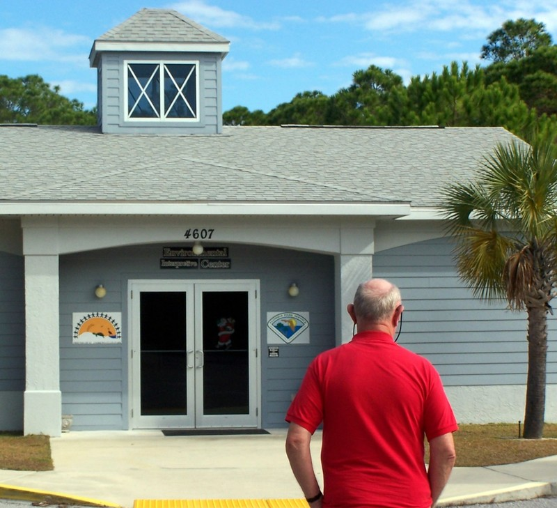 Bob walking in to the Environmental Interpretive Center
