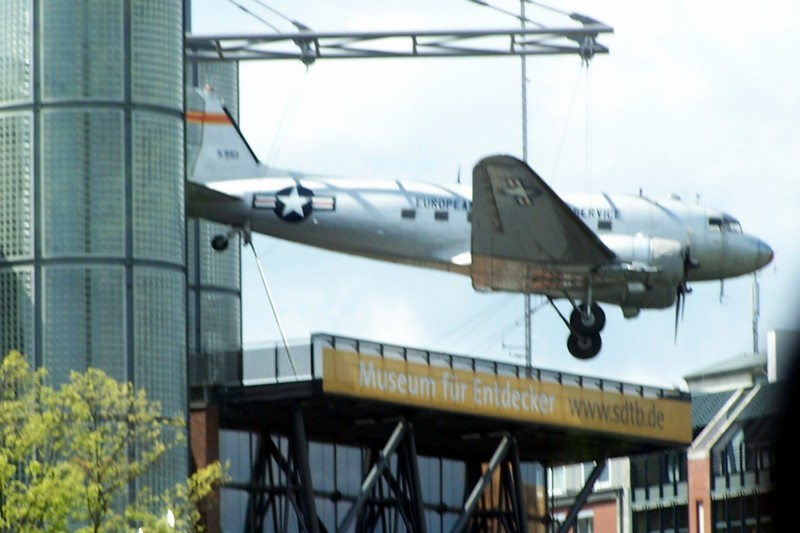 German Museum of Technology with an airplane suspended over it