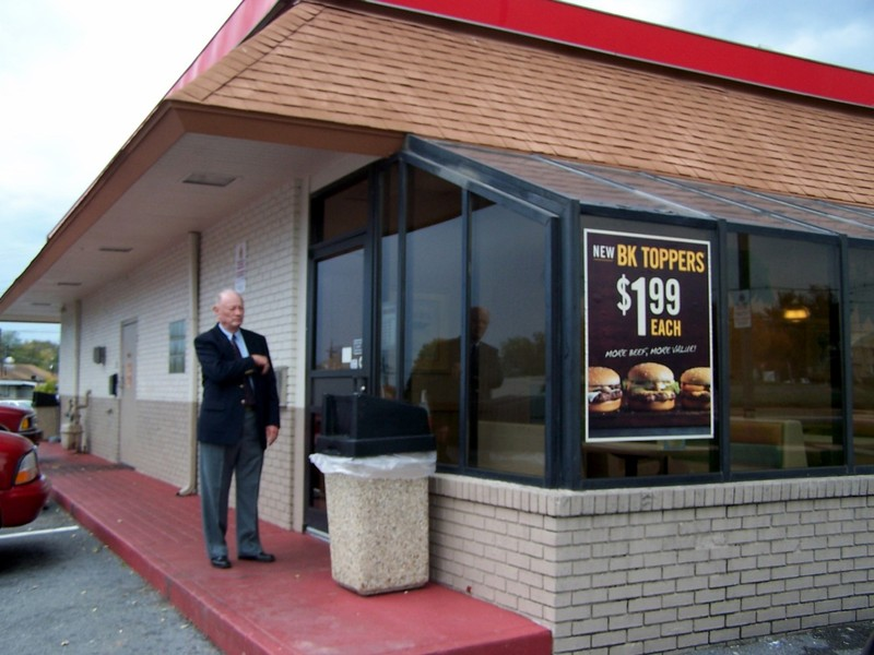 Bob waiting for me at the door of Burger King