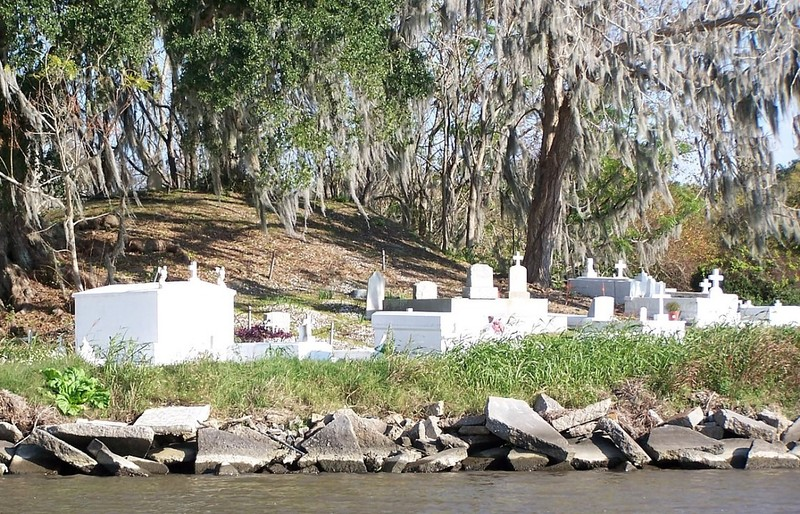 Gravesites on shore that we saw on the swamp tour