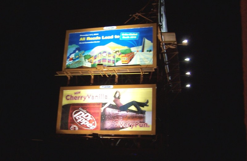 Billboards opposite our hotel at night