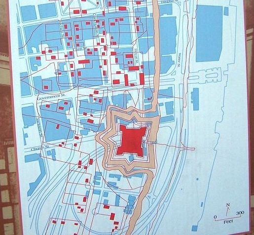 Original fort outline superimposed on the current city of Mobile