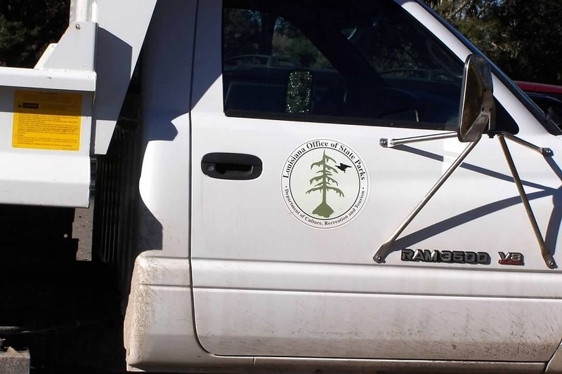 Louisiana Office of State Parks truck in the parking lot