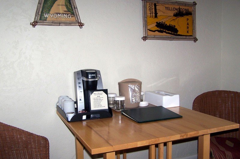 Table in our room with coffee pot and ice bucket
