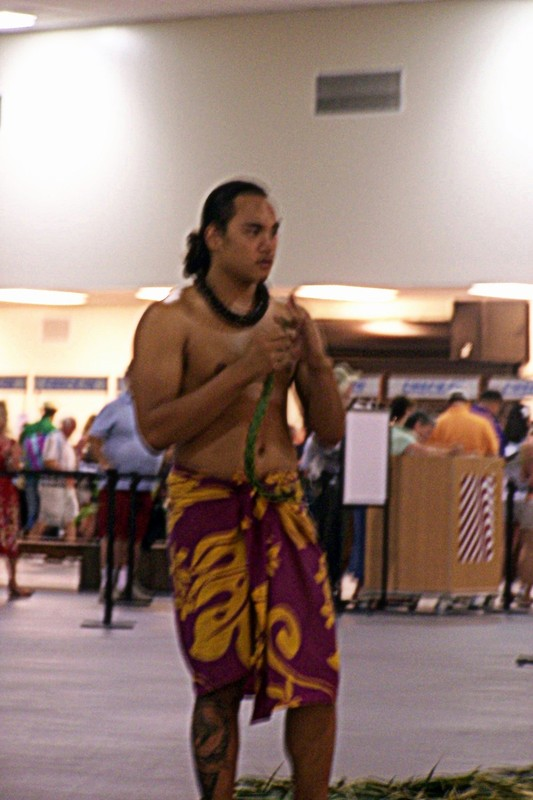 Hawaiian dancer at embarkation