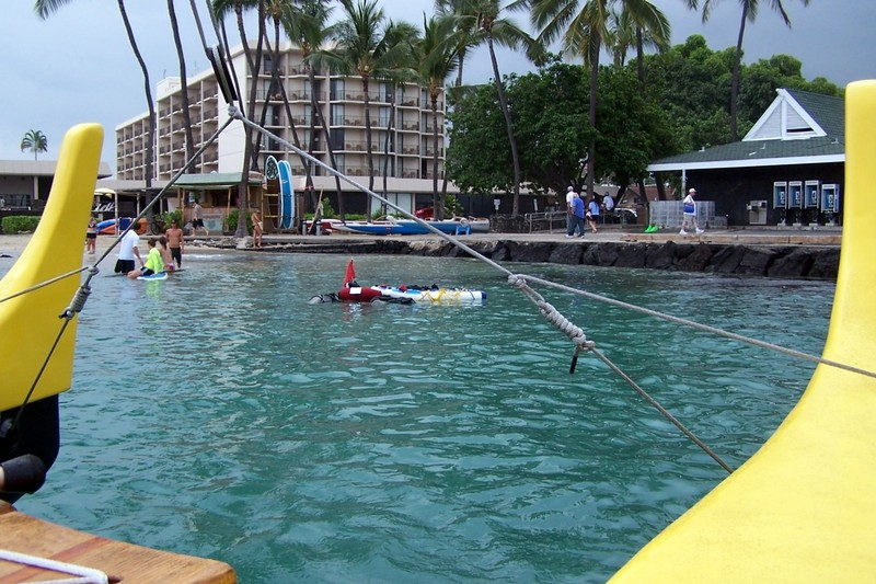 On the outrigger sailboat leaving the beach