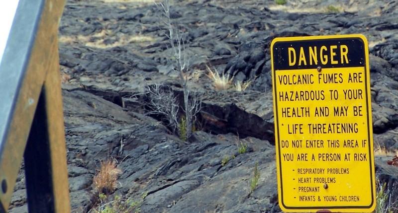 Danger sign and crack