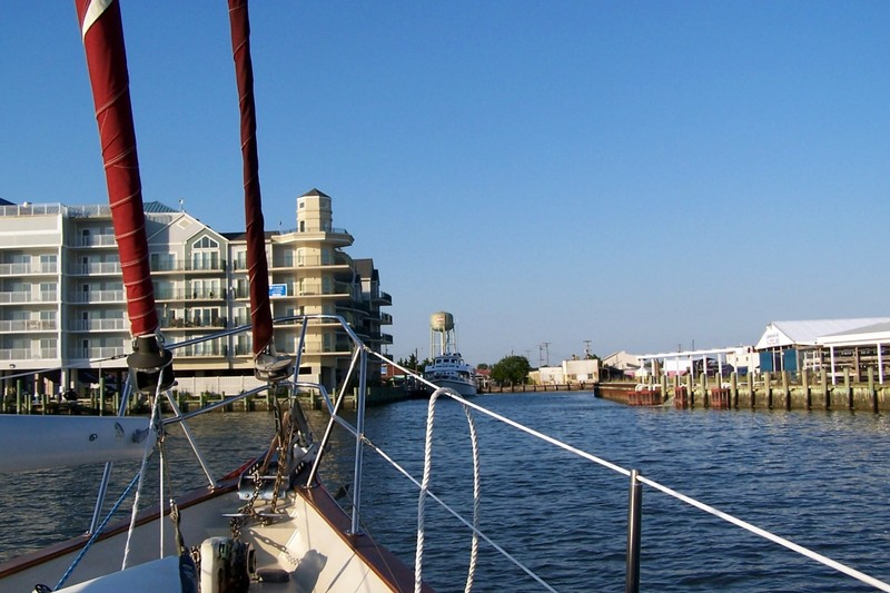 Approaching the Crisfield entrance channel