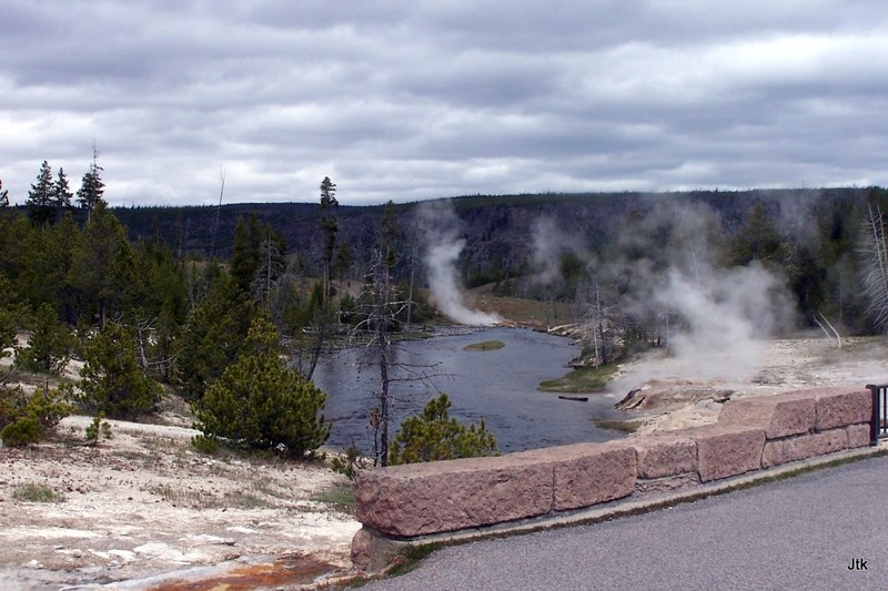 Steam from 3 geysers