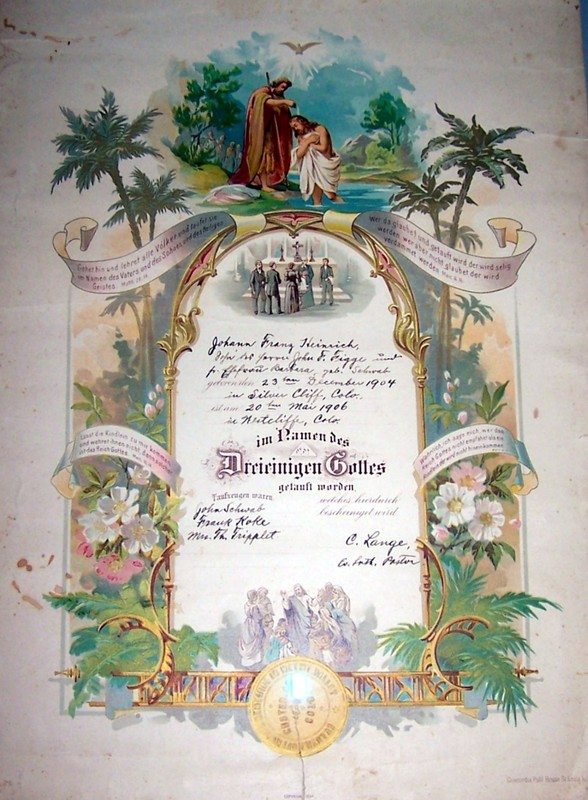 My father's baptismal certificate