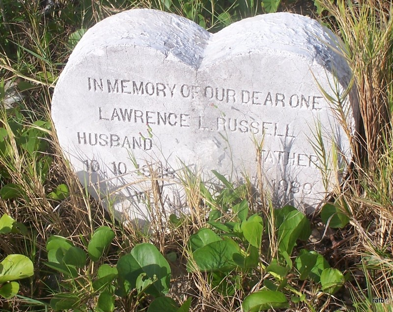 Heart shaped stone for Leonard Russell at Pinder's Point