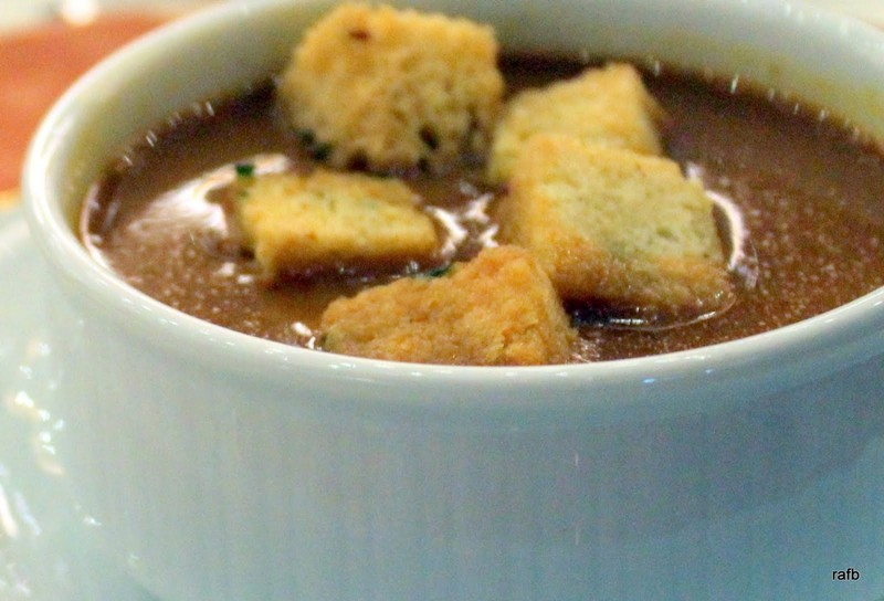 Bob's cream of tomato soup with croutons
