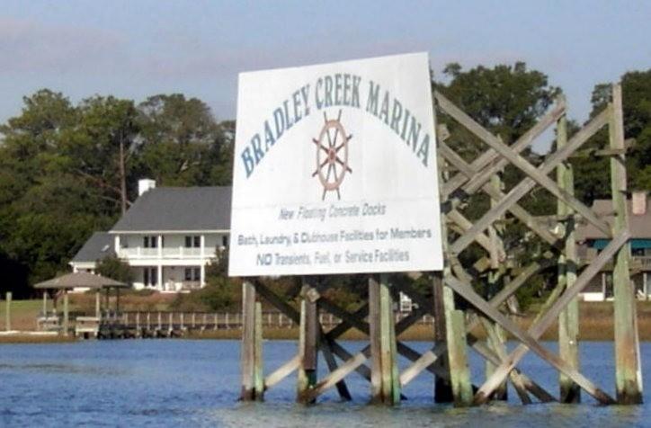 Bradley Creek Marina sign