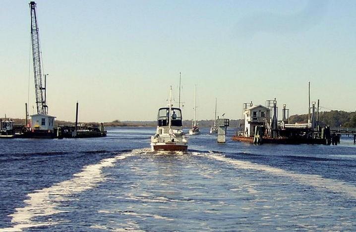 Going through the pontoon bridge