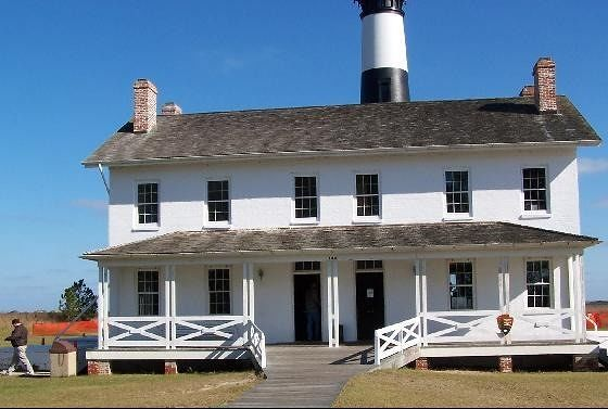Front view of Keepers Quarters- lighthouse in back