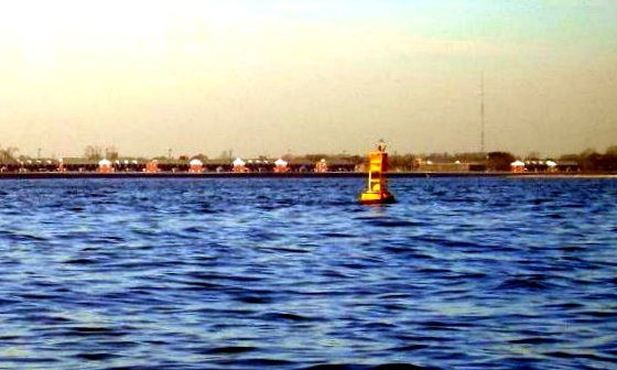 Yellow buoy which I think indicates a fishing ground