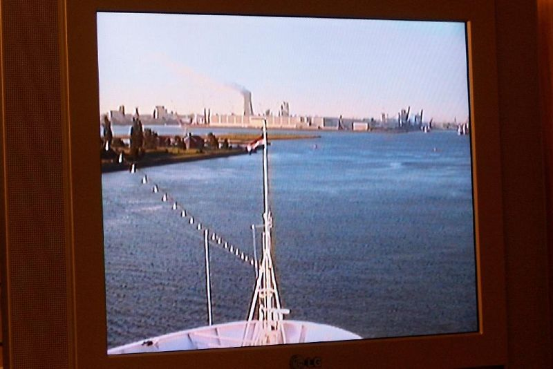 Bow camera picture of the port