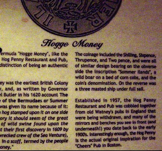Hogge Money explanation on the menu