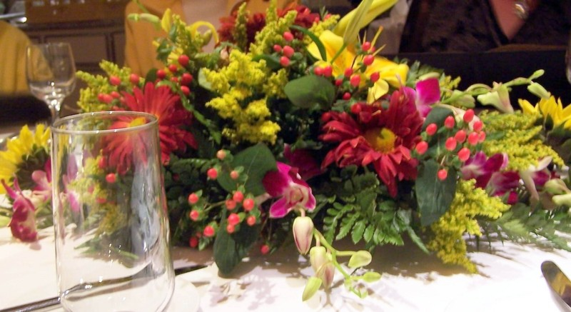 Flowers on the dinner table