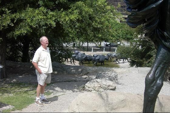 Bob looking at the sculptures
