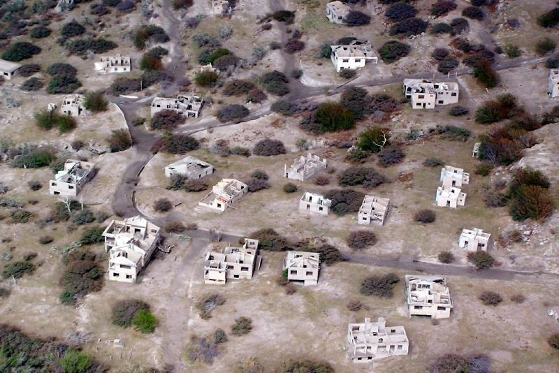 Looking down on a destroyed village