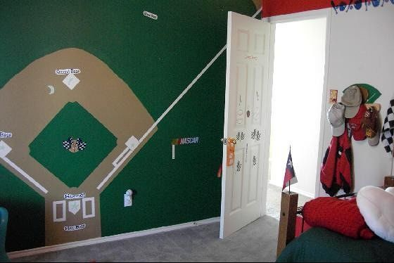 Ballfield mural in TX grandson's room