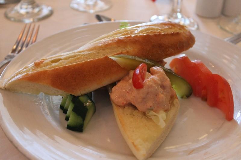 Shrimp salad and crab meat on baguette