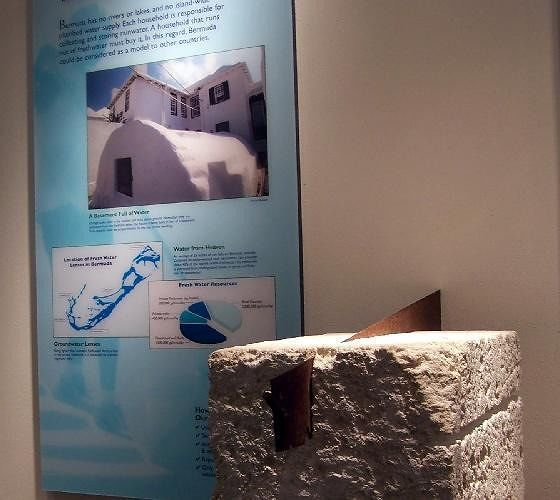 Exhibit on roof making from coral rock