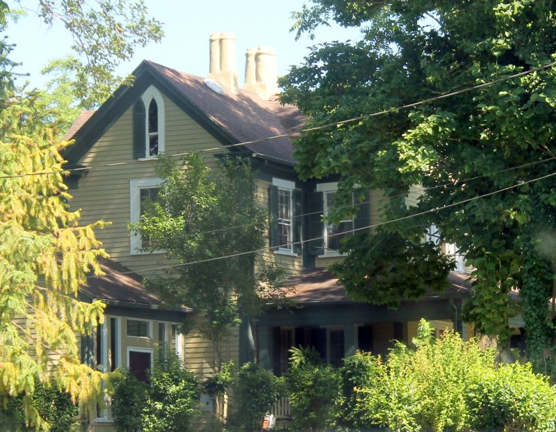 House in Plymouth NC opposite Grace Episcopal Church with an interesting attic window